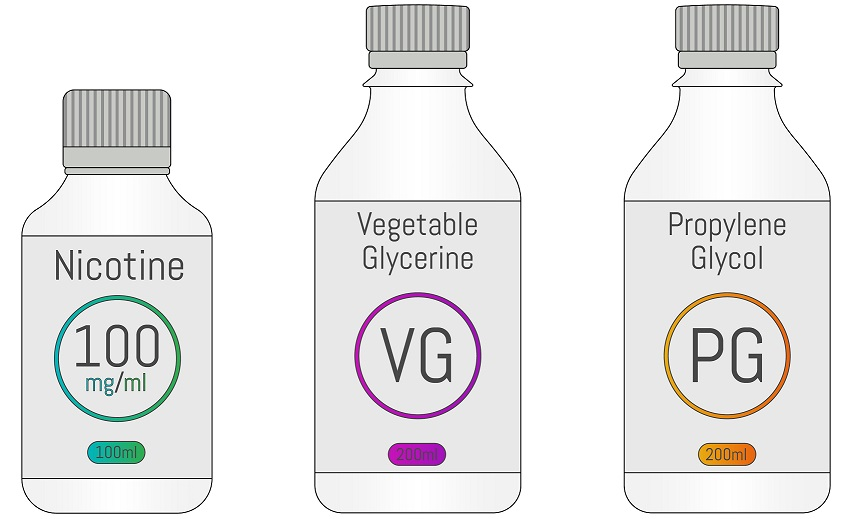 PG, VG and Nicotine bottles
